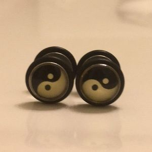 Other - Faux Yin And Yang Plug Earrings